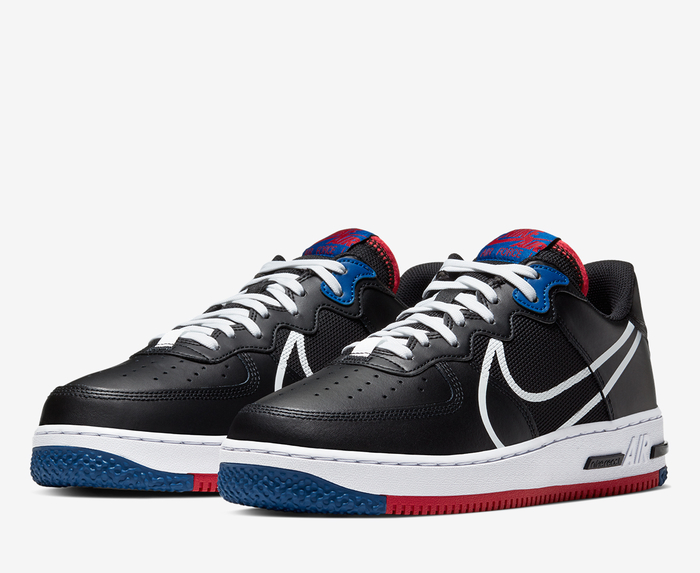 espejo Monarca División  Nike - AIR FORCE 1 REACT 'BLACK/WHITE-GYM RED-GYM BLUE' - VegNonVeg